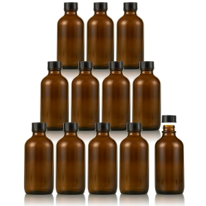 Amber Glass Empty Bottles with Caps - for Essential Oils, Extracts, & Other Liquids - Perfect for Light Sensitive Liquids - 12 Pack - 4 oz.