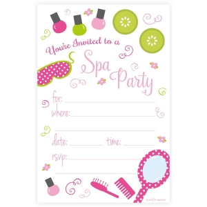 Spa Birthday Party Invitations - Fill In Style (20 Count) With Envelopes by m&h invites