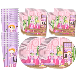 Spa Salon Birthday Party Supplies Set Plates Napkins Cups Tableware Kit for 16
