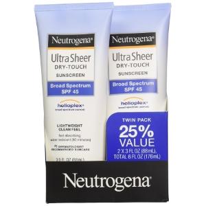 Neutrogena Ultra Sheer Dry-Touch Sunscreen, Broad Spectrum Spf 45, 3 Fl. Oz., Pack Of 2