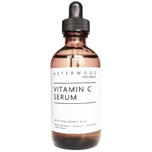 Vitamin C Serum 4 oz with Organic Hyaluronic Acid - Lighten Sun Spots, Anti Aging, Anti Wrinkle - Light and Oxygen Stable MAP Vitamin C - ASTERWOOD NATURALS - Classic Formula Bottle